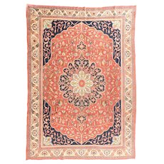 Hand Knotted Persian Tabriz Wool & Silk Circa 1890, SIZE: 8'6'' x 11'6''