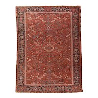 Hand Knotted Persian Heriz Wool Circa 1920, SIZE: 7'4'' x 10'0''