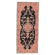 """Extremely Fine Vintage Black Tabriz Runner Rug, Hand Knotted, Wool & Silk, Size 2'9"""" x 6'4"""""""