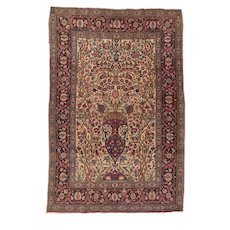 Antique Ivory Tehran Persian Area Rug Circa 1900, SIZE: 4'5'' x 6'7''