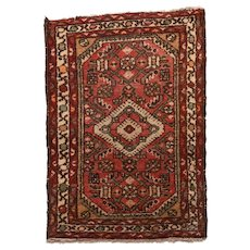 Antique Red Hamedan Persian Area Rug Circa 1920 SIZE: 2'0'' x 2'9''
