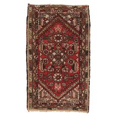 "Fine Vintage Hamedan Persian Rug, Hand Knotted, Circa 1950's, Size 1'9"" x 3'"