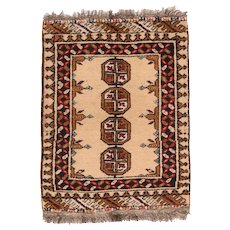 "Fine Vintage Bokhara Pakistan Rug, Hand Knotted, Circa 1960's, Size 1'10"" x 2'3"""