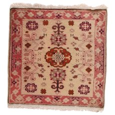 "Fine Vintage Oushak Turkish Rug, Hand Knotted, Circa 1970's, Size 2'10""x2'10"""