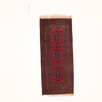 """Fine Vintage Bokhara Pakistan Rug, Hand Knotted, Circa 1970's, Size 1'5""""x3'5"""""""