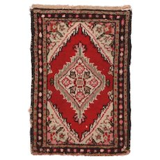 "Fine Vintage Hamedan Persian Rug, Hand Knotted, Circa 1950's, Size 1'6"" x 2'"