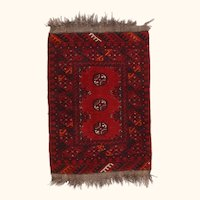 """Fine Vintage Afghan Bokhara Rug, Hand Knotted, Circa 1950's, Size 1'8""""x2'3"""""""