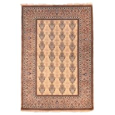 """Extremly Fine Vintage Persian Isfahan Rug, Hand Knotted, Flower Silk Foundation, Circa 1970's, Size 5'1"""" x 7'6"""""""