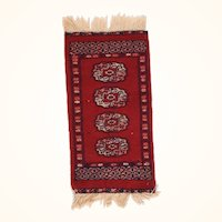 Fine Vintage Bokhara Pakistan Rug, Hand Knotted, Circa 1970's, Size 1' X 2'