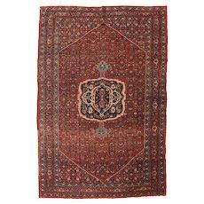 Antique Burgundy Bidjar Persian Area Rug Wool Circa 1890, SIZE: 7'5'' x 11'1''