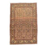 Antique Ivory Tehran Persian Area Rug Wool Circa 1900, SIZE: 6'6'' x 10'0''