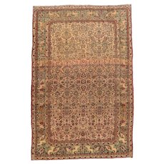 Antique Ivory Tehran Persian Area Rug Wool Circa 1900, SIZE: 6'6'' x 10'0''