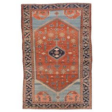 Antique Red Persian Malayer Area Rug Wool Circa 1900,  SIZE: 4'1'' x 6'4''