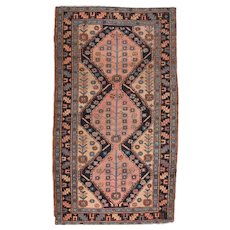 """Fine Antique Salmon Heriz Persian Rug, Hand Knotted, Circa 1890, Size 3'8"""" x 6'3"""""""