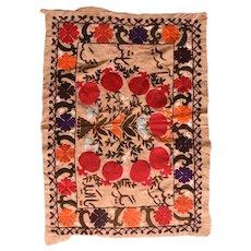 Vintage Red Uzbek Suzani Embroidery Area Rug Wool Circa 1950, SIZE: 2'0'' x 2'7''