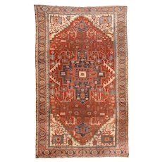 Antique Red Heriz Serapi Persian Area Rug Wool Circa 1890, SIZE: 8'10'' x 14'8''