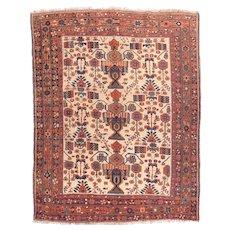 Antique Rust Persian Afshar Area Rug Wool Circa 1910, 5'2'' x 6'6''