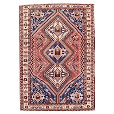 Semi Antique Rust Qashqai Persian Area Rug Wool Circa 1930, SIZE: 5'0'' x 6'11''