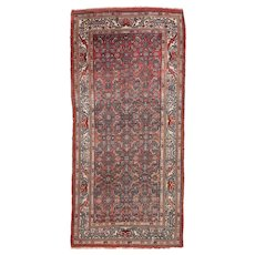Antique Rust Persian Malayer Area Rug Wool Circa 1920 SIZE: 3'4'' x 7'2''