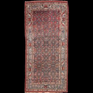 Antique Rust Persian Malayer Area Rug Wool Circa 1920 SIZE: 3'4'' x 7'2''