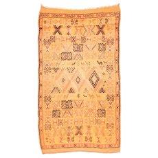 Antique Beige Marakesh Morrocan Area Rug Wool Circa 1920 SIZE: 4'10'' x 8'9''