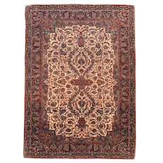 Antique Ivory field Persian Isfahan Area Rug Silk & Wool Circa 1910, SIZE: 4'10'' x 6'8''