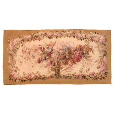 Antique Beige Aubusson-Beauvais French Tapestry Area Rug Circa 1900, SIZE: 2'2'' x 4'6''