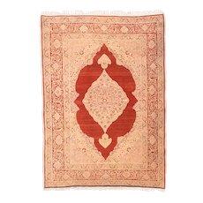 Antique Red Tabriz Haji Jalili Persian Area Rug Silk & Wool Circa 1890, SIZE: 3'9'' x 5'6''