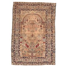 Antique Dark Beige Lavar Kerman Persian Area Rug Wool Circa 1890, SIZE: 4'4'' x 6'2''