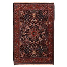 Antique Red Bidjar Persian, Hand Knotted Area Rug Wool Circa 1900, SIZE: 4'6'' x 6'8''