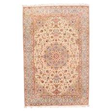 Vintage Fine Ivory Tabriz Persian Area Rug Wool & Silk Circa 1970, SIZE: 6'6'' x 9'10''