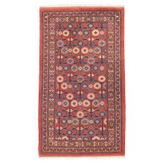Antique Red Khotan Samarghand Area Rug Wool Circa 1920, SIZE: 4'4'' x 7'4''