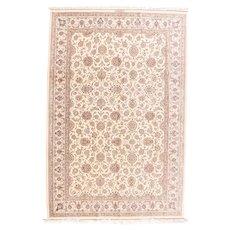 Vintage Ivory Qum Persian Area Rug Silk Circa 1970, SIZE:  6'5'' x 9'4''