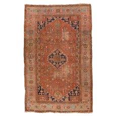 Antique Rust Heriz Serapi Persian Area Rug Wool Circa 1900, SIZE:  6'6'' x 10'3''
