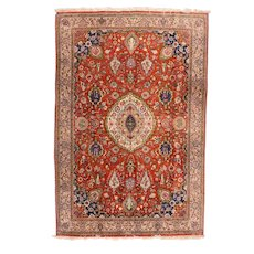 Vintage Fine Red Qum Persian Area Rug Silk Circa 1970, SIZE: 6'6'' x 9'8''