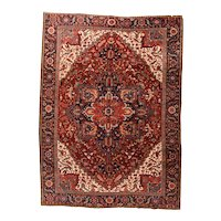 Hand Knotted Persian Heriz Wool Circa 1920, SIZE: 9'7'' x 13'0''