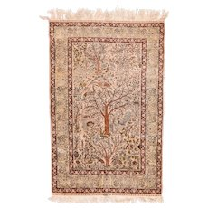 Vintage Ivory Herekeh Turkish Area Rug Silk Circa 1950, SIZE: 3'8'' x 5'10''