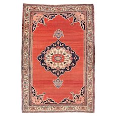 Antique Red Bidjar Persian Area Rug Wool Circa 1890, SIZE: 4'10'' x 7'3''