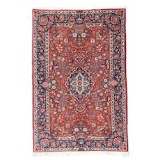 "Fine Antique Kashan Persian Rug, Hand Knotted, Circa 1920, Size 4'4"" x 6'10"""