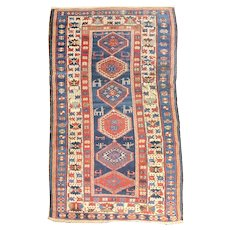 """Fine Antique Caucasian Shirvan Rug, Hand Knotted, Circa 1890, Size 3'9' x 7'3"""""""