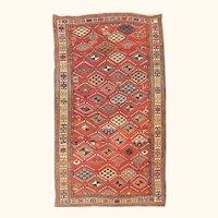 "Fine Antique Kazak Russian Caucasian  Rug, Hand Knotted, Circa 1890, Size 4'1"" x 6'2"""