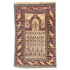 Antique Beige Daghestan Shirvan Area Rug Wool Circa 1890 SIZE: 3'4'' x 5'2''