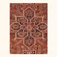 Antique Red Heriz Persian Area Rug Wool Hand Knotted Circa 1910, SIZE 7'9'' x 11'0''