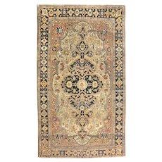 Antique Beige Persian Mohtasham Kashan Area Rug Wool Circa 1890 SIZE: 4'5'' x 6'1''