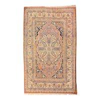 Antique Beige Persian Tabriz Haji Jalili Area Rug Wool Circa 1890 SIZE: 4'4'' x 6'3''