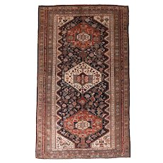 """Fine Antique Khamseh Tribal Persian Rug, Hand knotted, Circa 1890, Size 5'8"""" x 9'3"""""""