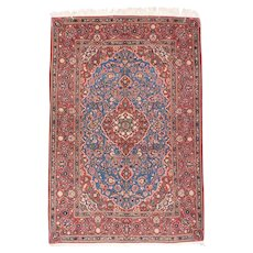 """Fine Semi Antique Vintage Kashan Persian Rug, Hand Knotted, Circa 1930's, Size 4'7"""" x 6'10"""""""