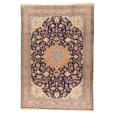Hand Knotted Persian Tabriz Wool & Silk Circa 1920, SIZE: 8'2'' x 11'6''