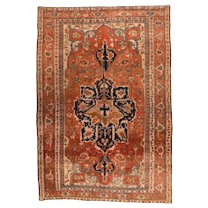 Antique Rust Serapi Persian Area Rug Wool Circa 1890, SIZE: 9'1'' x 13'6''