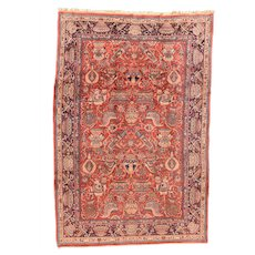 Semi Antique Fine Persian Sarouk Area Rug Wool Circa 1930, SIZE: 6'11'' x 10'11''